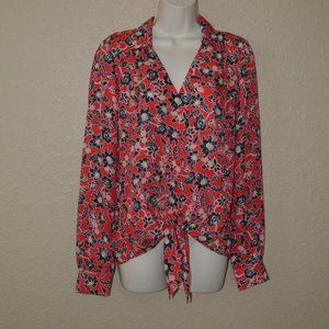 NWT $238 XS S Parker Red Black Bali Floral Print
